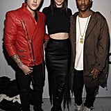 Kendall Jenner posed with Justin Bieber and Big Sean backstage at Kanye West's fashion show.