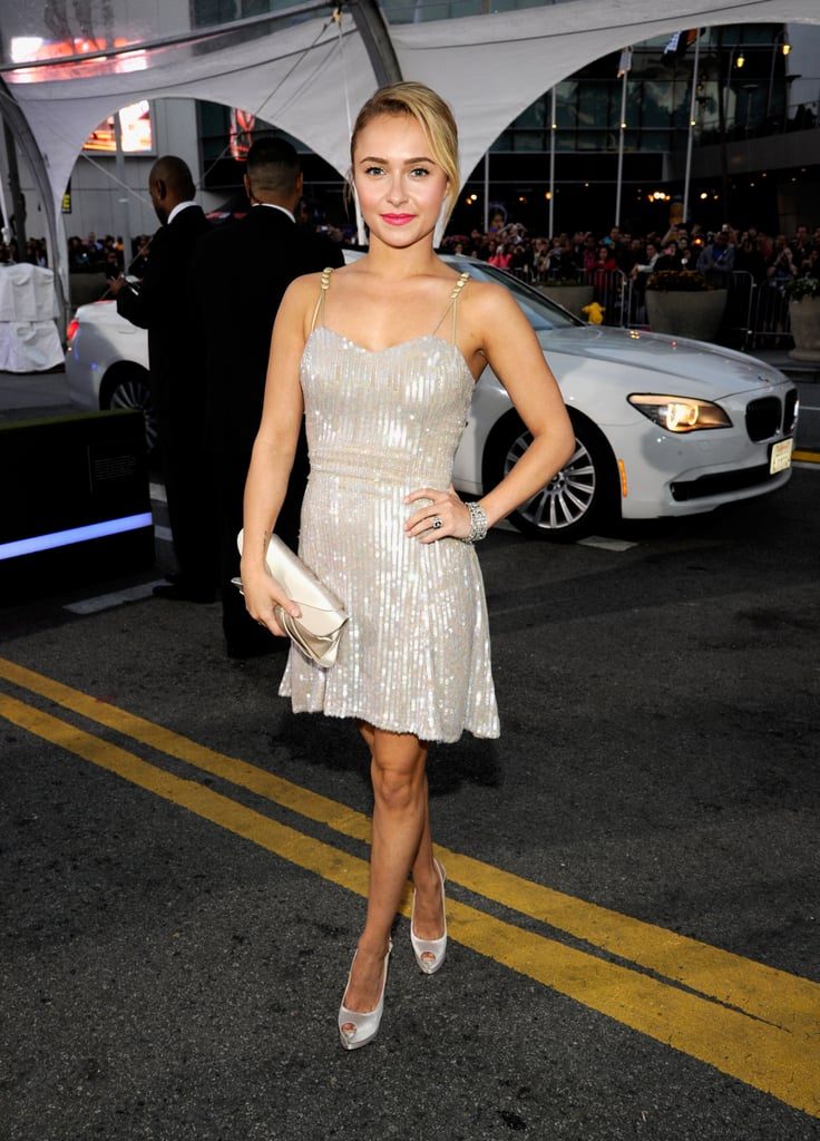 Hayden Panettiere's sparkly little Giorgio Armani dress would be a perfect party dress for a warm Summer's night.