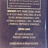 Ingredients in Plain Trader Joe's Cultured Cashew Beverage
