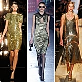 Fall '12 runway looks ranged from sheer embellished gowns to fitted sheaths.  From left to right: Monique Lhuillier, Jason Wu, Michael Kors.