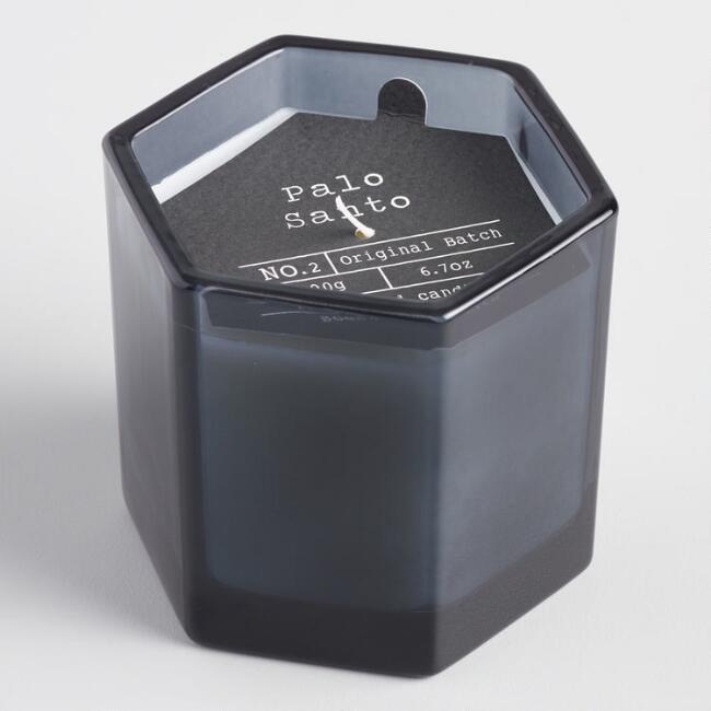 Palo Santo Hexagonal Smoky Gray Filled Jar Candle