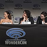 Pictured: Lindsey Morgan, Bob Morley, and Richard Harmon.
