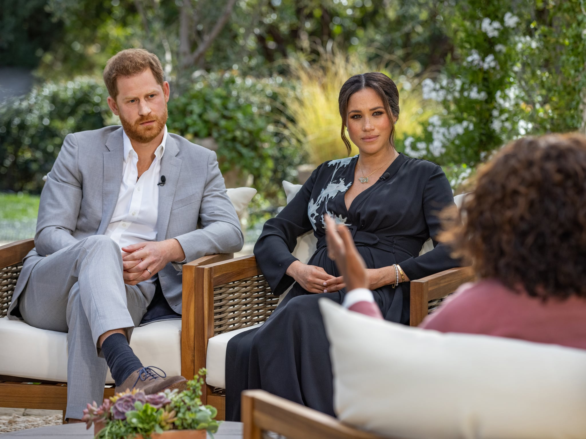 UNSPECIFIED - UNSPECIFIED: In this handout image provided by Harpo Productions and released on March 5, 2021, Oprah Winfrey interviews Prince Harry and Meghan Markle on A CBS Primetime Special premiering on CBS on March 7, 2021. (Photo by Harpo Productions/Joe Pugliese via Getty Images)