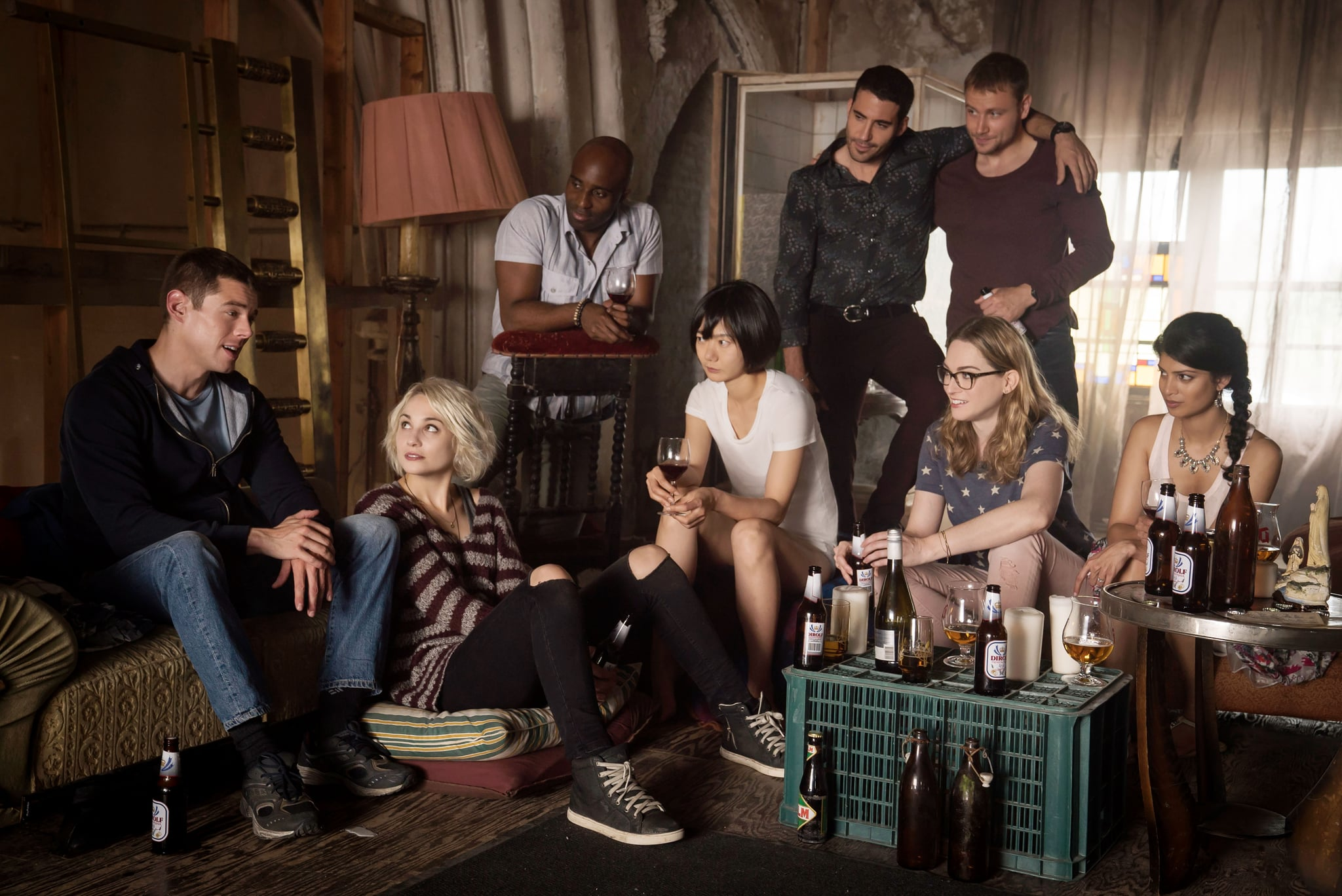 SENSE8, Brian J. Smith, Tuppence Middleton, Toby Onwumere, Bae Doona, Miguel Angel Silvestre, Max Riemelt, Jamie Clayton, Tena Desae in 'Obligate Mutualisms', (Season 2, episode 203, aired May 5, 2017), ph: Murray Close / Netflix / courtesy Everett Collection