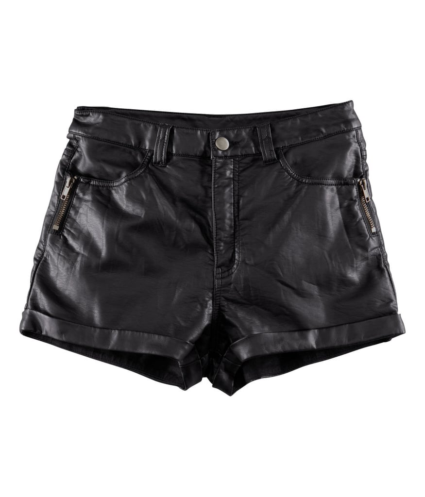 I think black leather shorts are cool, sexy, and chic. These H&M shorts ($25), can be styled for daywear (graphic tee, ankle boots and a crossbody bag) and nightwear (blazer, pumps, and a clutch.) Seasonal shorts, especially one as edgy as these, are definitely a must have. 