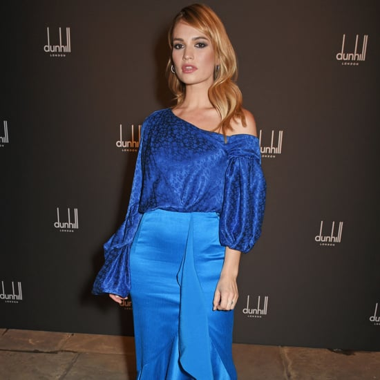 Lily James in Blue Hellessy Dress
