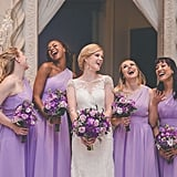 This fun bridal party wore one-shoulder purple gowns.