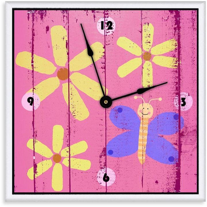 Green Leaf Art Butterflies & Flowers Decorative Art Clock