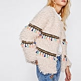 Shein Embroidery Tape and Tassel Detail Open Front Coat