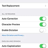 "Once you're in the keyboard settings, select ""text replacement."""