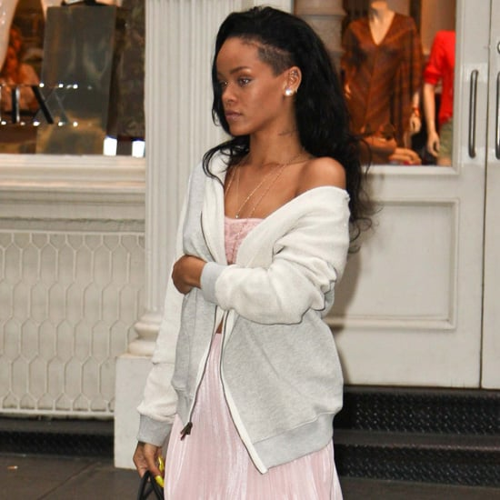 Rihanna Pink Pleated Skirt With Lace Bandeau Top