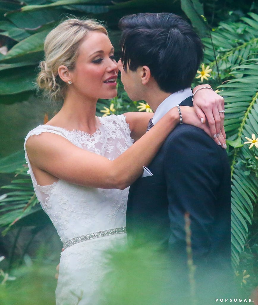 Katrina Bowden went in for a kiss with Ben Jorgensen at her wedding.