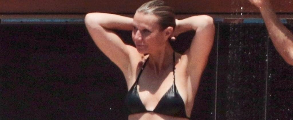 Gwyneth Paltrow Black Bikini With Brad Brad Falchuk in Italy