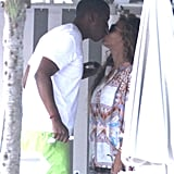 Jay-Z and Beyoncé Knowles shared a sweet kiss during a getaway to the South of France in September.