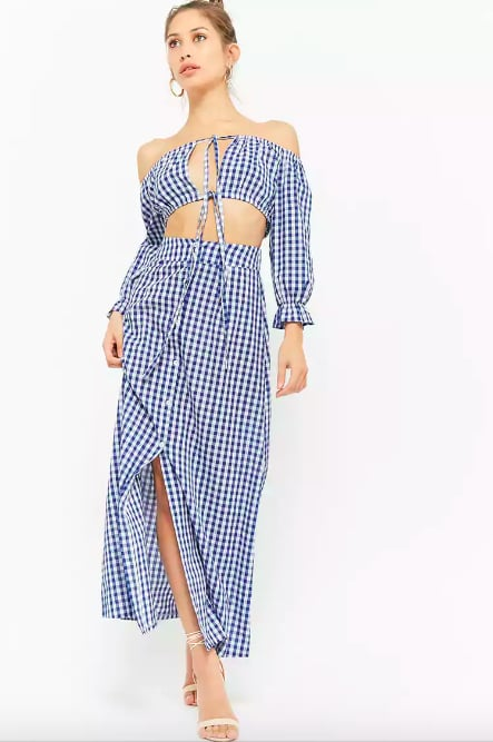 2cd2703e65e91 Forever 21 Gingham Off-the-Shoulder Crop Top & Button-Front Maxi Skirt