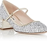 Miu Miu Glitter Mary Jane Pumps-Silver ($895)