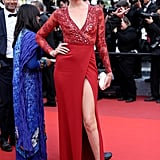 Angela Lindvall was a knockout in a slit and embellished red gown at the Loving premiere.