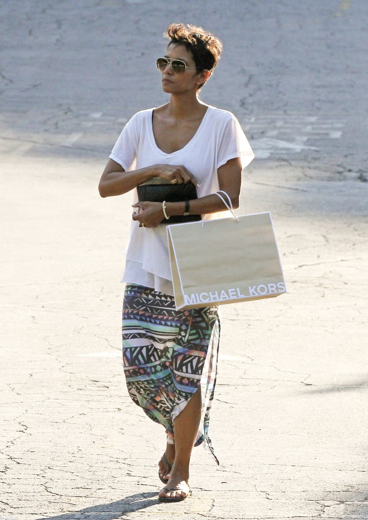 Halle Berry carried a Michael Kors shopping bag.
