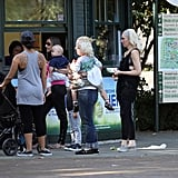 Gwen Stefani with Kingston and Zuma at the zoo in London.