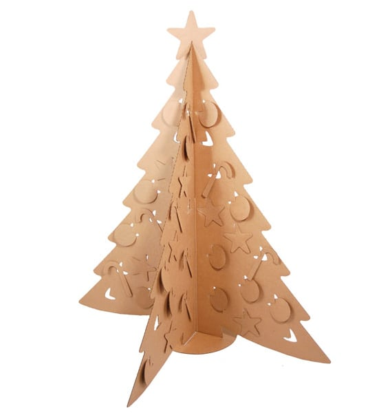 The eco-friendly Cardboard Christmas Tree ($20), made from recycled cardboard, ships flat, comes with more than 50 cardboard ornaments, and can be used to hang your own ornaments.
