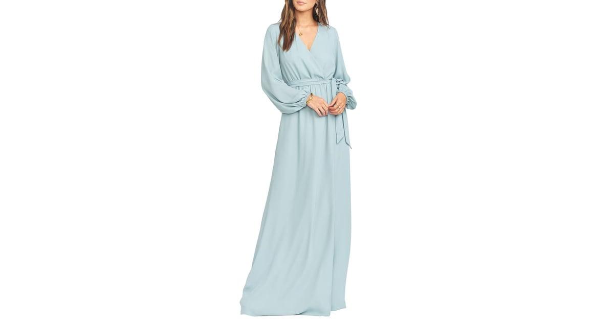 Show Me Your Mumu Babylon Long Sleeve Faux Wrap Gown   The