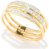 Gold-Plated Sterling Silver 3-Row Stackable Ring