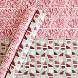 Minted Patterned Gift Wrap Red/Mint Santa