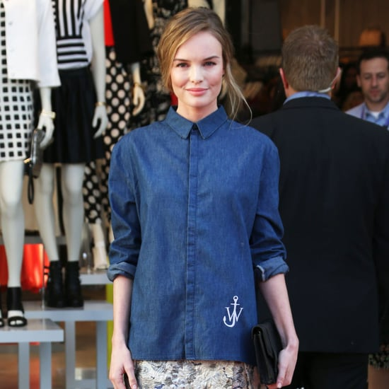 Kate Bosworth Style: Topshop Denim Shirt, Jacquard Skirt