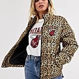 NBA Miami Heat logo leopard print padded jacket