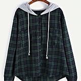 Shein Plus Pocket Plaid Drawstring Hooded Blouse