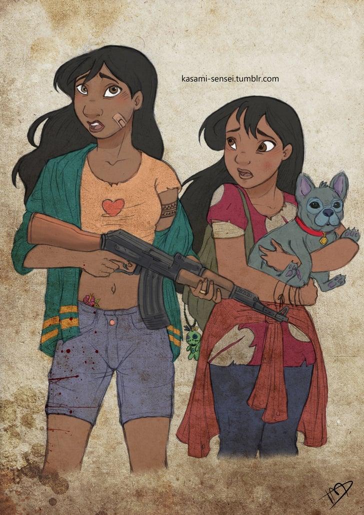 Nani, Lilo, and Stitch   Walking Dead Disney Art ...