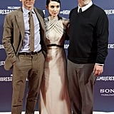 David Fincher posed with his stars, Daniel Craig and Rooney Mara.