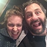 Lena Dunham and Judd Apatow took a silly snap in the Girls writers' room. Source: Instagram user lenadunham