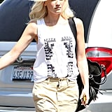 Gwen Stefani kept her outfit casual.