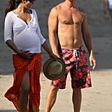 Camila was pregnant with Levi when she hit the Malibu sand with Matthew in June 2008.