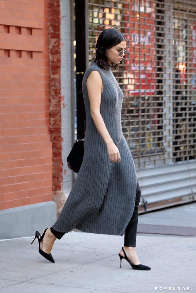 Selena Gomez Wearing Dress Over Pants