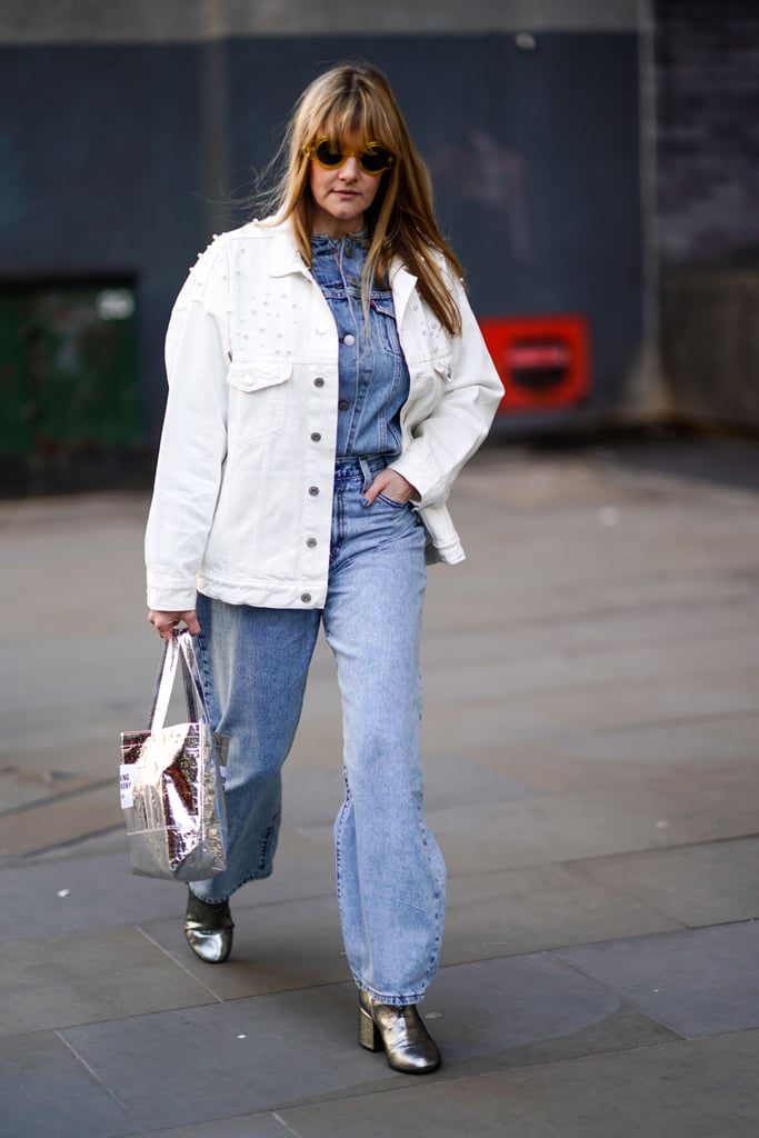 Triple denim looks can also be done with a white jacket over a denim top and jeans.