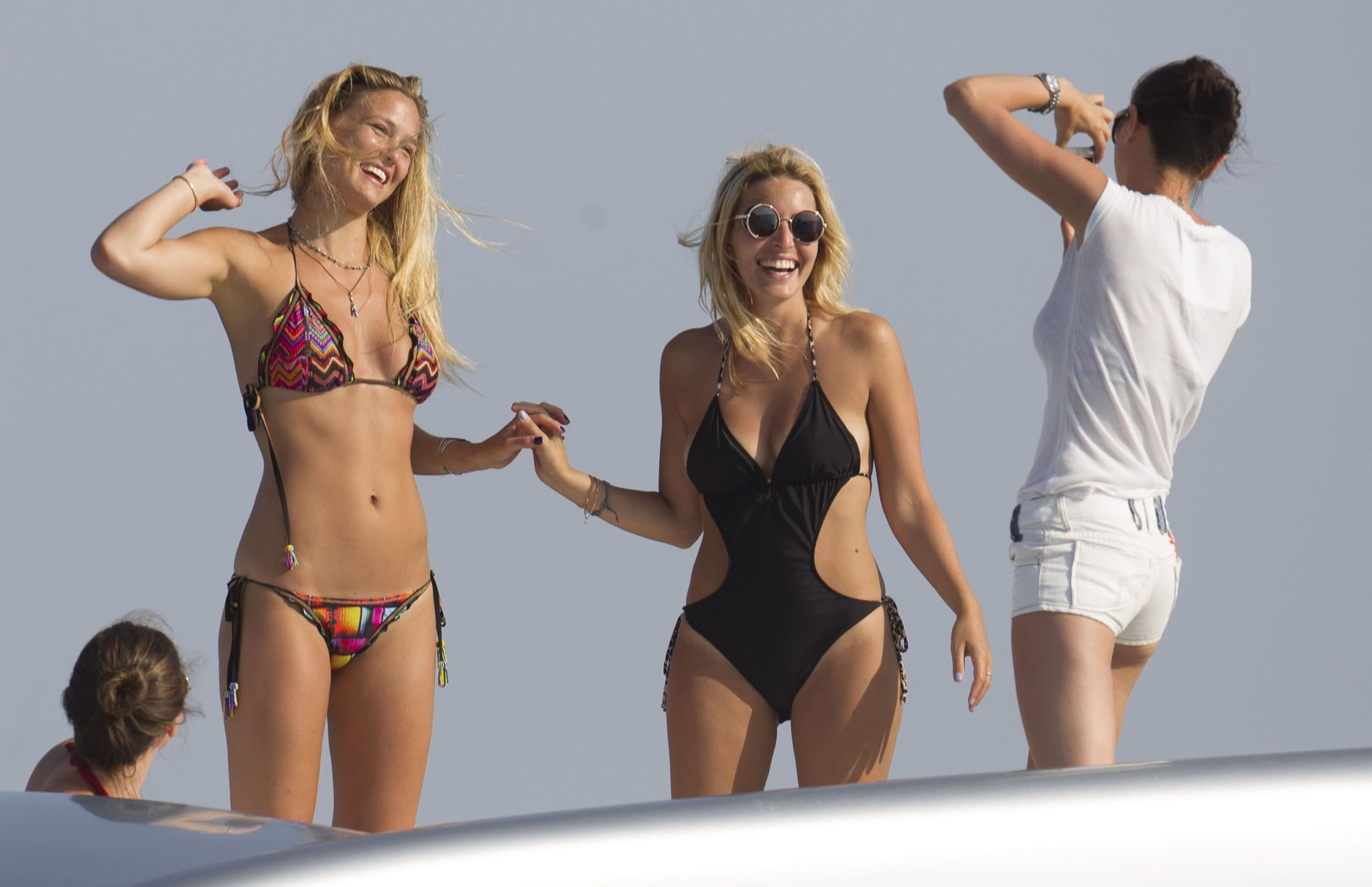 Bar Refaeli hung out with friends on a yacht in Spain.