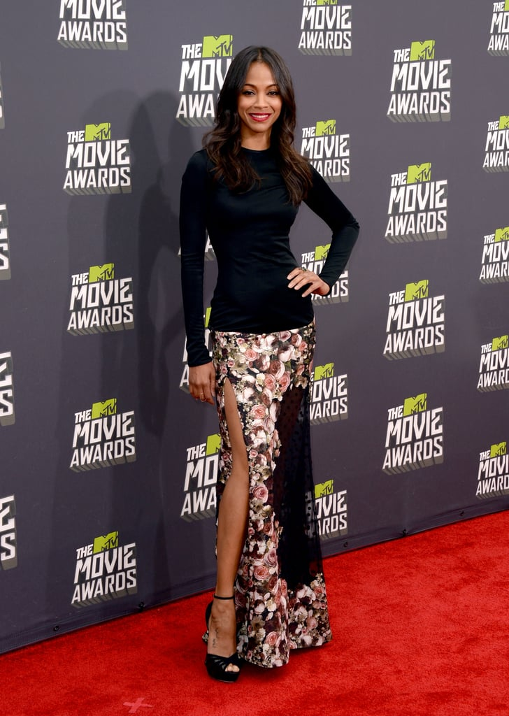Zoe Saldana donned a Givenchy skirt and black shirt for the MTV Movie Awards.