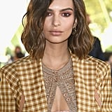 Emily Ratajkowski Wearing Nina Ricci Plaid Suit