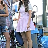 Selena Gomez wore a pink dress on set.