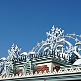 The entrance of Disneyland Park looks like a Winter wonderland.