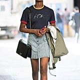 How to Wear a Denim Skirt For Fall