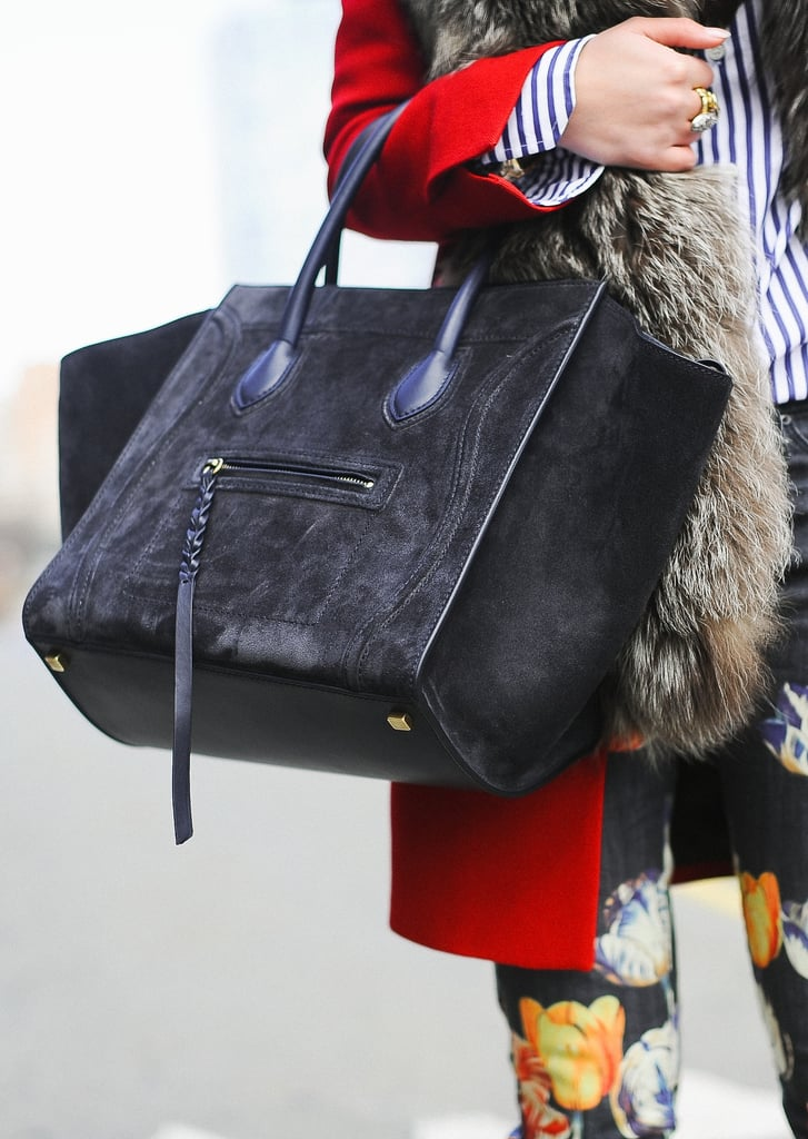 A black suede Céline bag added a textural element to this wintry street-style look.