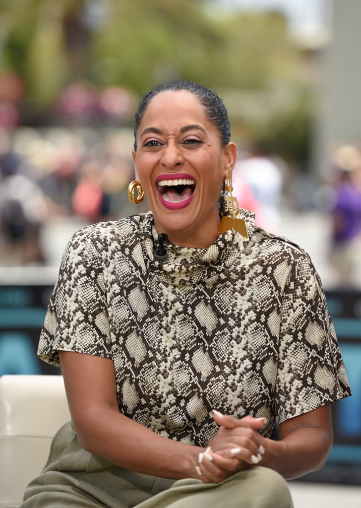 Get playful, and embrace the mismatched look, like Tracee Ellis Ross, who paired a swirling chunky hoop with a single geometric chandelier.