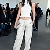 Clad in All White, Kendall Sat Front Row at Calvin Klein