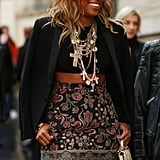 Shiona Turini completed her outfit with ample jewels and an embroidered skirt.