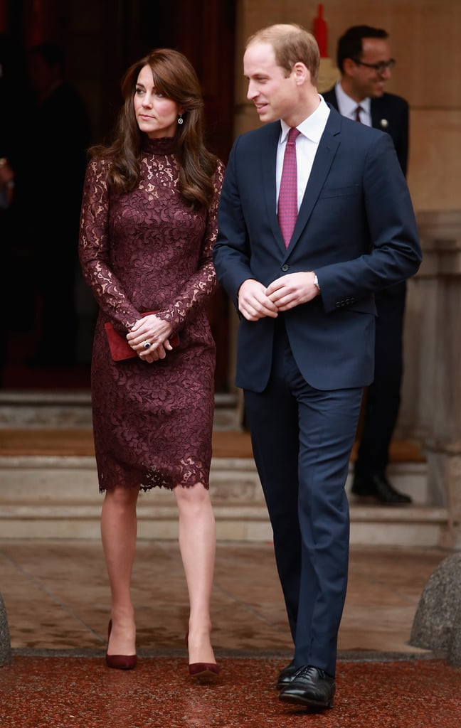 The Duchess of Cambridge Wearing a Purple Lace Dress