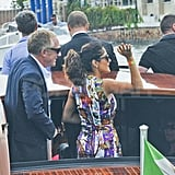 Salma Hayek and Francois-Henri Pinault on a boat in Venice.