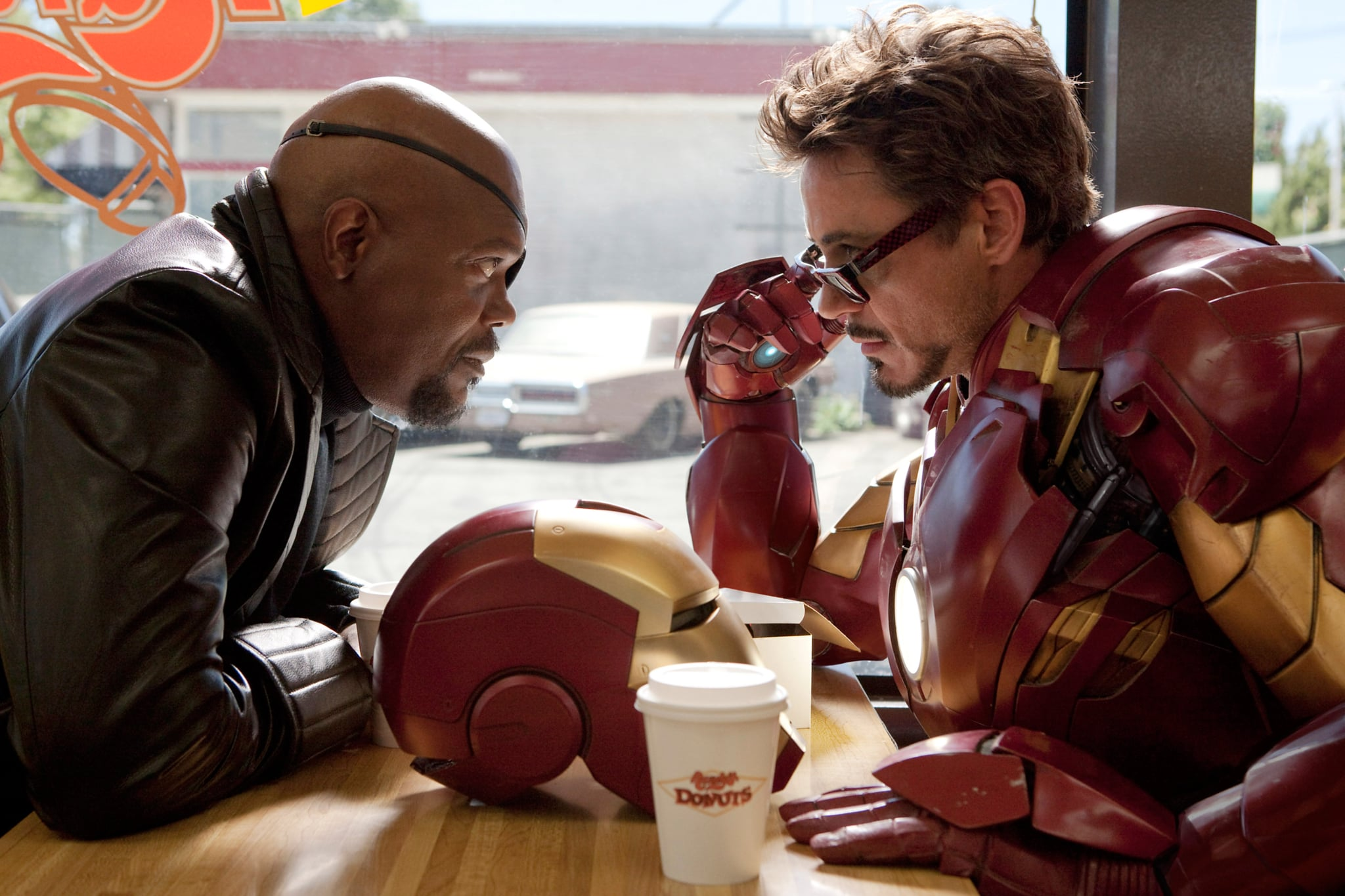 IRON MAN 2, from left: Samuel L. Jackson, Robert Downey Jr., 2010. ph: Francois Duhamel/Paramount/Courtesy Everett Collection